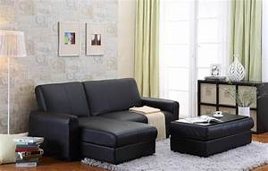 stylish modern design of black leather sleeper couch and With black bonded leather sectional sofa with single recliner