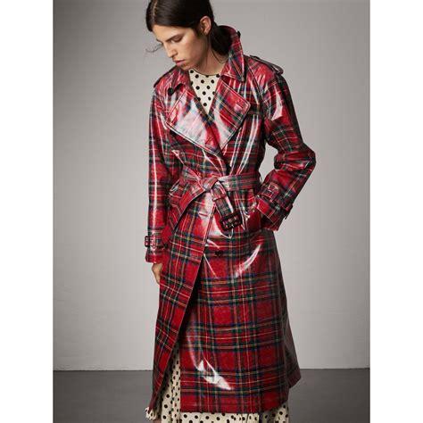 tartan shirt 2 laminated tartan wool trench coat in bright