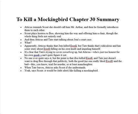 to kill a mocking bird chapter summarys