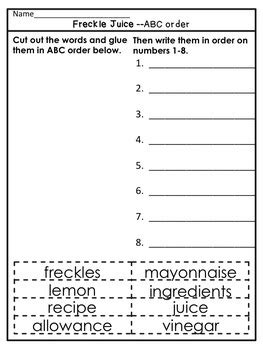 freckle juice  guided reading lesson plan  prep