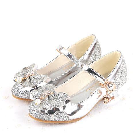 girls closed toe sparkling glitter  heel pumps flower