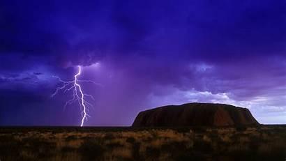 Uluru Australia Lightning Rock Rain Ayers Background