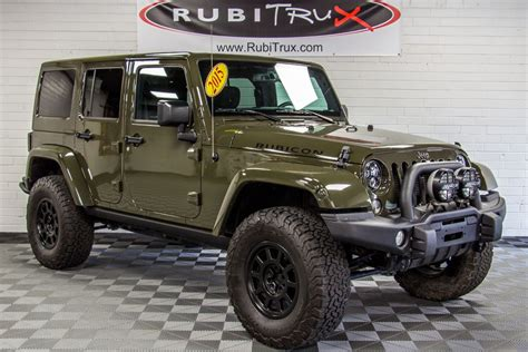 jeep green 2015 jeep wrangler rubicon unlimited tank green