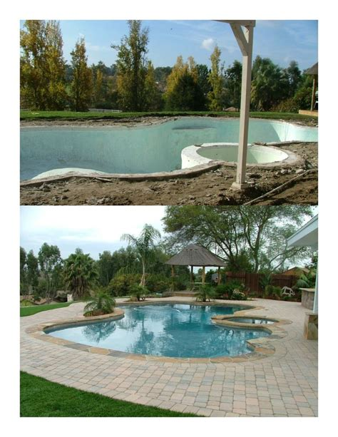 backyard makeover with pool complete backyard makeover the old plaster pool was missing waterline tiles and covered with