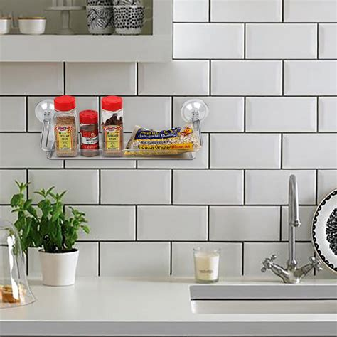 Wall Spice Holder by Spice Rack Clear Acrylic Storage Suction Shelf Home