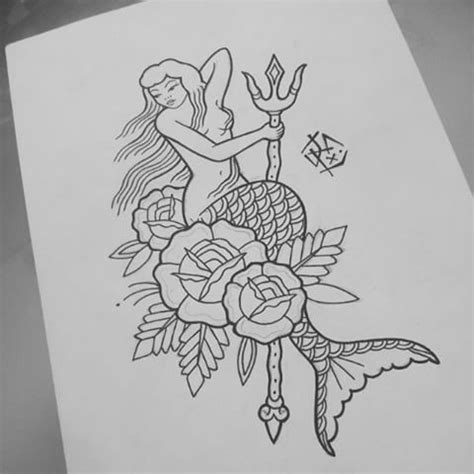 school mermaid  trident  roses  coloring
