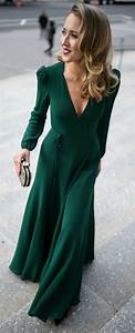 emerald green long sleeve floor length wrap dress black With emerald green dress for wedding guest