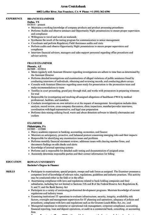 examiner resume samples velvet jobs