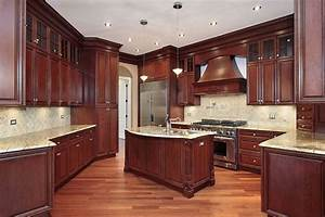 Mahogany kitchen cabinets kitchen cabinet pictures for Kitchen cabinets lowes with wood burning wall art