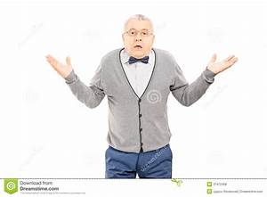 Confused Senior Man Gesturing With Hands Isolated On White ...