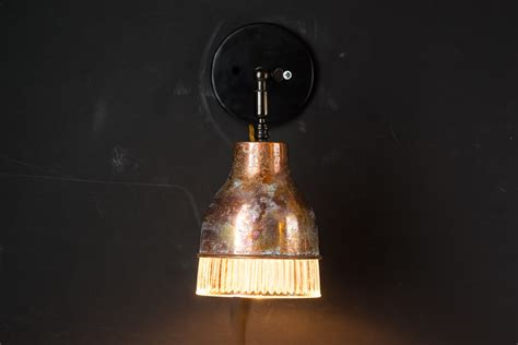 custom wall distressed copper and holophane glass wall light felix