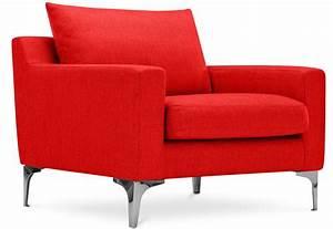 Fauteuil Design Tissu Lin Rouge Splenda LesTendancesfr