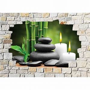 Stickers mural trompe l39oeil pierre deco zen stickers for Salle de bain design avec décoration murale stickers muraux autocollants