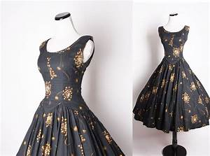 50s Vintage Cocktail Dress / Black Dress / Dress / Dresses