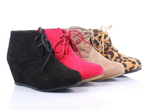 New Faux Suede Lace Up Girls Wedge High Heels Kids Ankle
