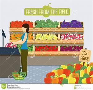 Supermarket Shelves Of Vegetables. Stock Vector - Image ...