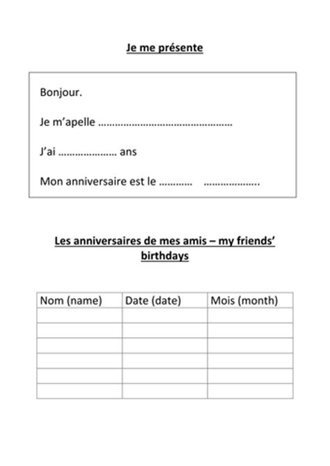 name age birthday in french worksheet by hannahw2
