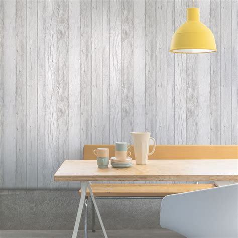 ideco home grey wood panel wallpaper  potting shed