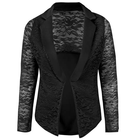 Womens Ladies Lace Open Front Blazer Long Sleeve Suit