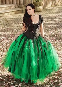 Black Green Gothic Long Prom Dress D1032 D Roseblooming