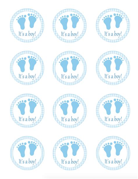 blue gingham favor label   boy stickers baby boy