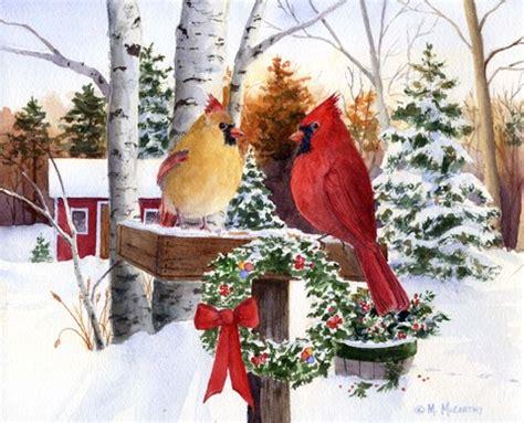 christmas cardinals fine art print  maureen mccarthy