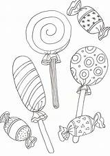 Coloring Lollipop Pages Candy sketch template
