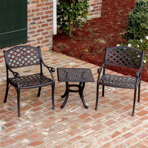 heritage 2 person cast aluminum patio bistro set modern