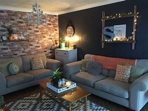 Industrial grey, brick wallpaper living room