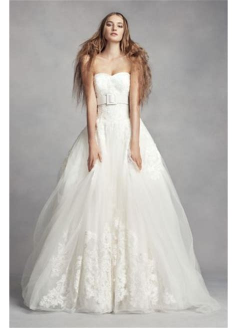 White By Vera Wang Lace Ball Gown Wedding Dress Davids