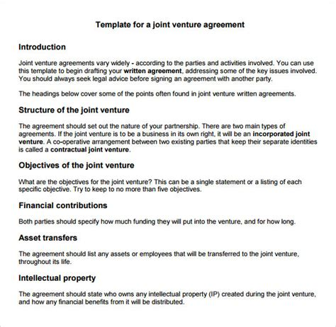 sample joint venture   documents   word