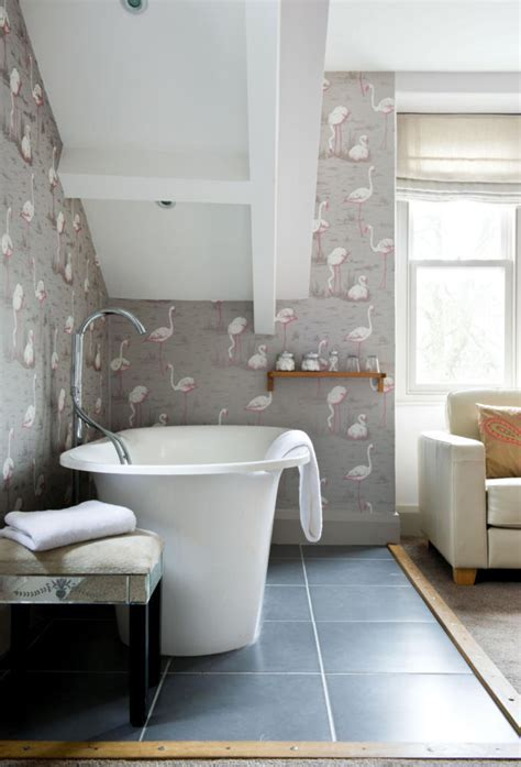 Flamingo background wallpaper in the bathroom   Interior