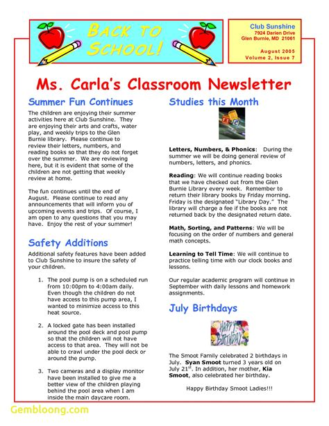 Free Classroom Newsletter Templates by Beautiful Free Newsletter Templates For Microsoft Word