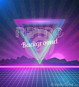 Retro Disco 80s Neon Poster Made In Tron Style With