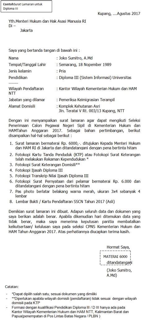 Surat Lamaran Cpns Kemensos 2017 by Format Terbaru Contoh Surat Lamaran Cpns Kementerian Hukum