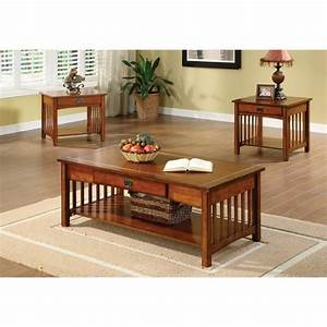 furniture of america nash mission style 3 piece antique With mission coffee table set