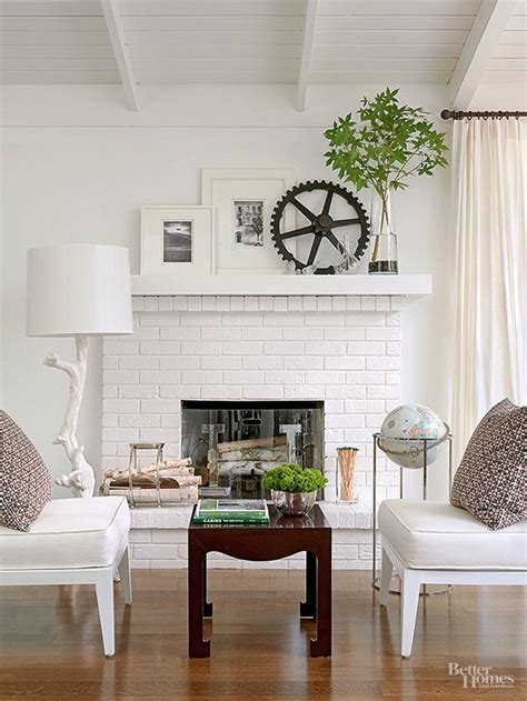 Painted Brick & Stone Fireplace Inspiration   The Inspired
