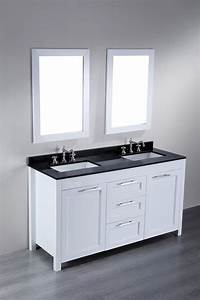 Bosconi 60 inch contemporary white double sink bathroom vanity for White vanity cabinets for bathrooms