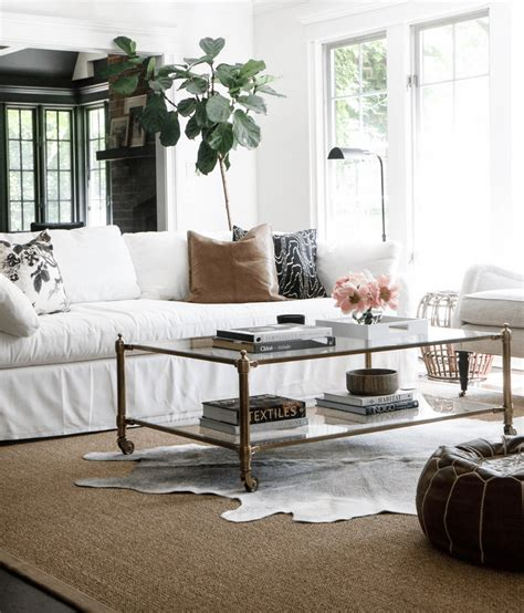 Farmhouse Living Room with Cowhide Rug