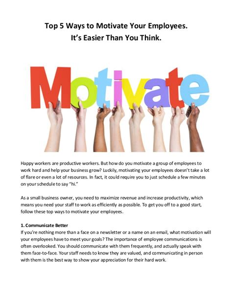 Top 5 Ways To Motivate Your Employees It's Easier Than You Think