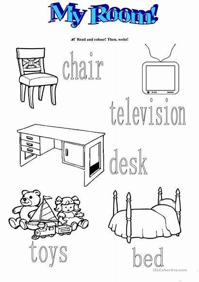 Worksheets Bedroom Worksheet Esl Furniture Coloring Template