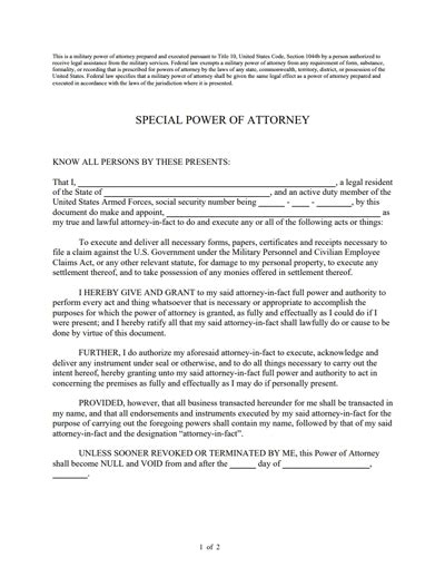 special power  attorney form   create