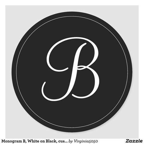 monogram  white  black customize    classic  sticker zazzlecom monogram