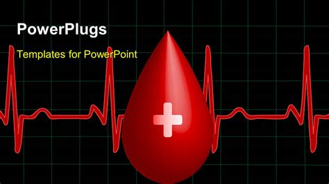 Blood Ppt Templates Free by Powerpoint Template A Drop Of Blood With A Heartbeat Line