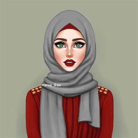 hijab drawing gambar islami