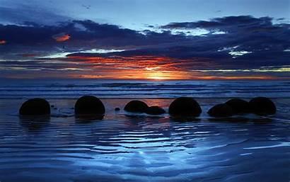 Beaches Moeraki Boulders Glowing Zeal Wide Wallpapers13