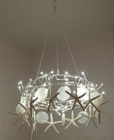 handcrafted starfish chandelier tiny white led lights