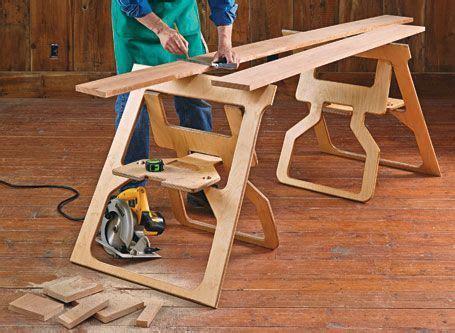 fold flat sawhorses woodsmith plans  images