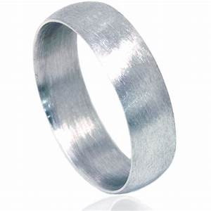 6mm Platinum Matte Finish Mens Wedding Band Ring