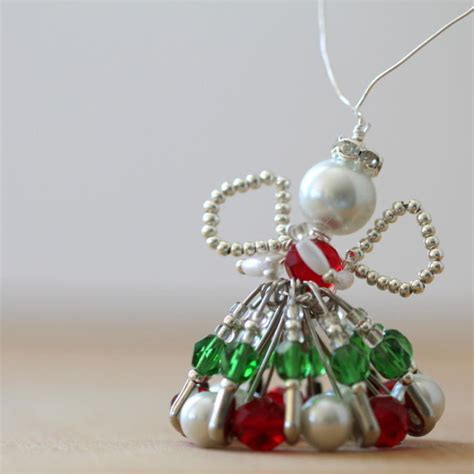 silver  pearl safety pin angel ornament